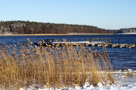 Lake Necko in winter, Masuria, Poland. Stock Photo