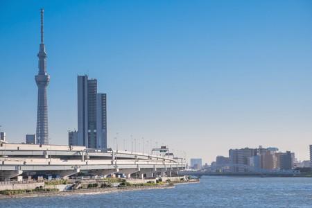 Tokyo sky tree with sumida river