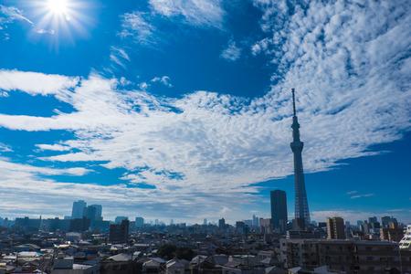 Cloudy skies with Tokyo sky tree