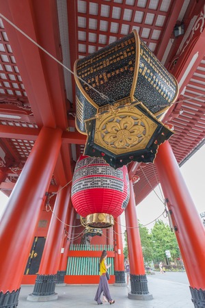 sightseers: Tourists and sightseers wander around Sensoji Temple on July 3,2016 in Tokyo,Japan