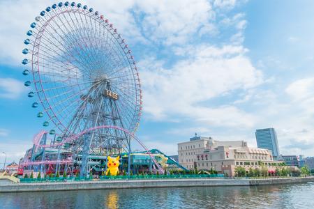 cosmo: Ferris wheel at cosmo world fun park in yokohama,Japan on August 12nd 2016 Editorial