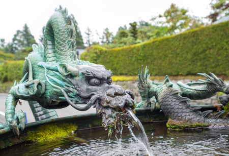 Fountain with japanese dragon in nikko Japan Stock Photo