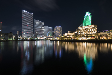 Minatomirai at night in Yokohama,Japan - 5th May 2017 Editorial