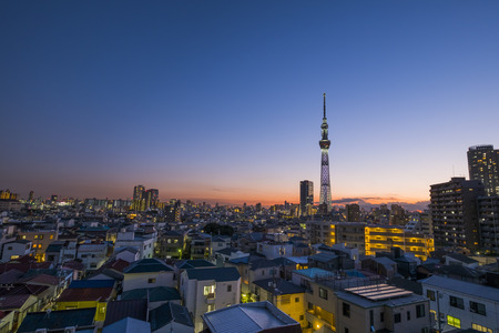 Tokyo Sky Tree at sunset time in Japan: 18th September 2017 Editorial