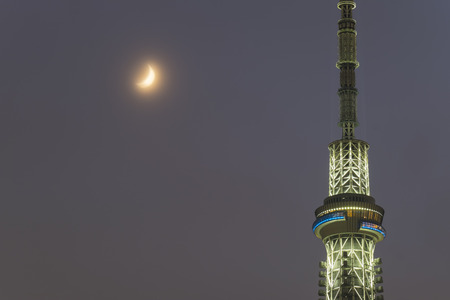 Close up Tokyo Sky Tree at night in Japan: 24th September 2017 Editorial