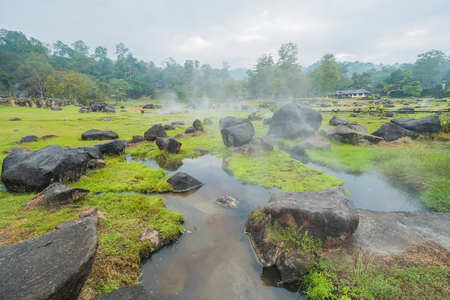 Morning Hot Springs at the National park in Thailand