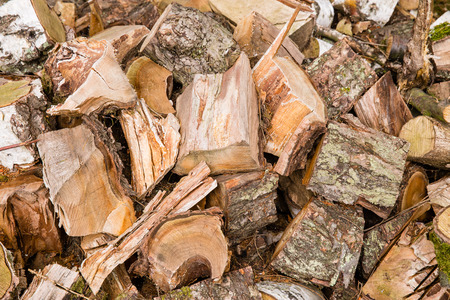 lumbering: Timber wood in chaos like a background or texture with details Stock Photo