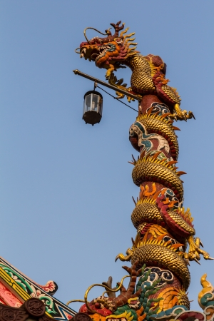 Chinese dragon on blue sky background photo