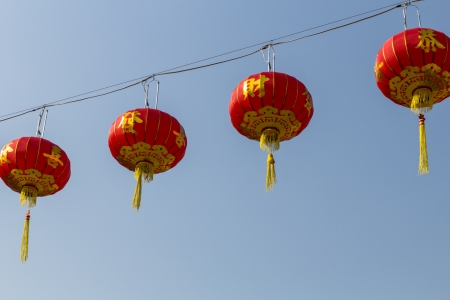 Chinese new year lantern on blue background photo