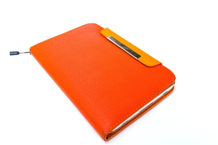 Tablet computer in orange case photo
