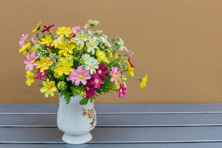 margaritas: hand made vase with forest flowers Stock Photo