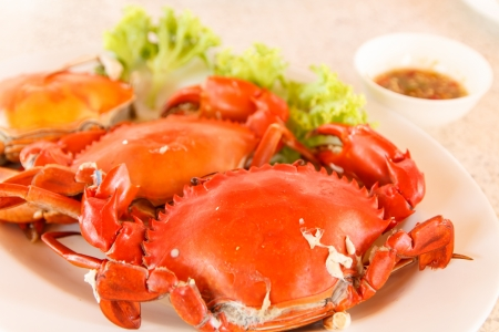crap: Seafood of steamed crap in red Stock Photo