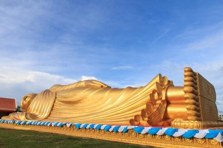 reclining: Reclining Buddha or sleeping Buddha in Songkhla province, Thailand Stock Photo