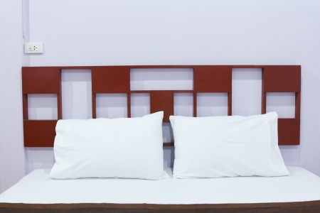 Comfortable soft pillows on the bed Stock Photo - 19292985