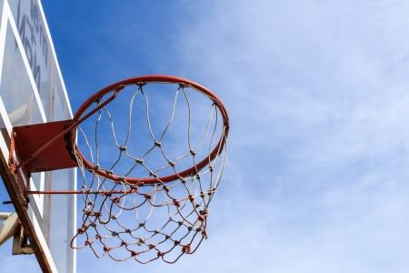 Basketball hoop against the blue sky background photo