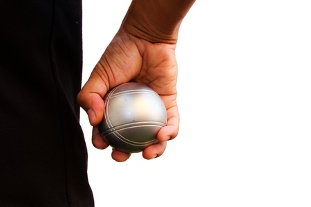 bocce: Man and petanque ball in hand