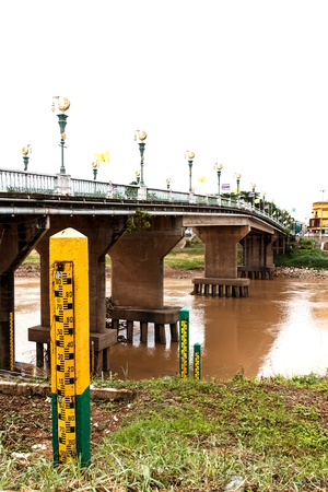 High-water marking plates on Nan river, Thailand Stock Photo - 20436456