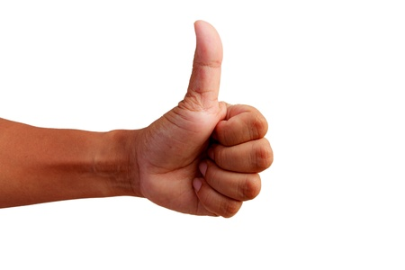 qualitative: Good sign of man hand on white background