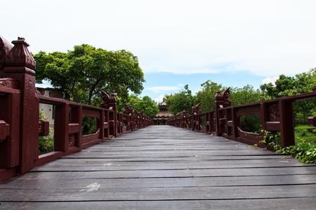 Walk way bridge in the garden photo