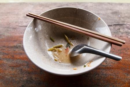 thai noodle soup: Empty bowl of Thai Noodle Soup