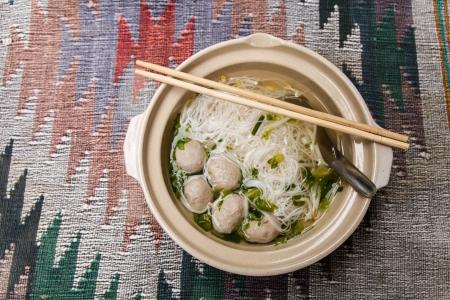 thai noodle soup: Bowl of Thai noodle soup with