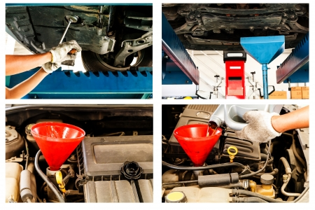 Car changing motor oil to engine process photo