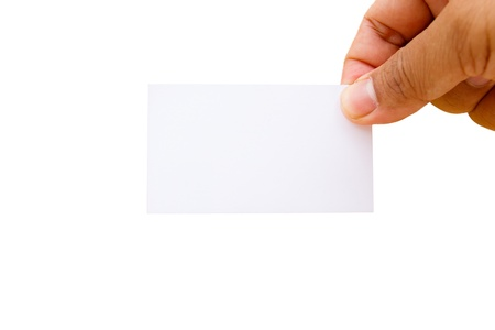 namecard: Hand showing blank namecard on white background