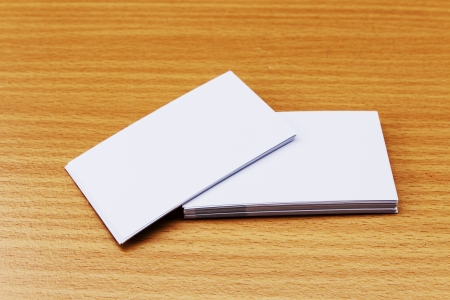 namecard: Blank namecard on wooden background Stock Photo