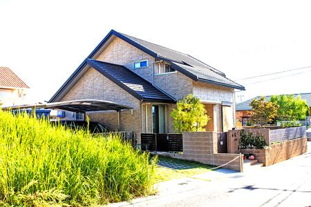 Japanese house style isolated on white background photo