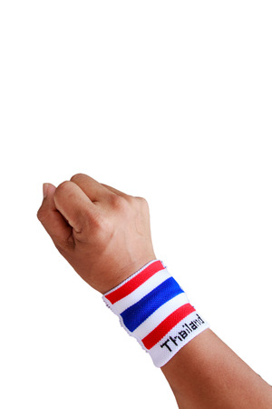 wristband: Man hand with wristband which Thailand flag colors