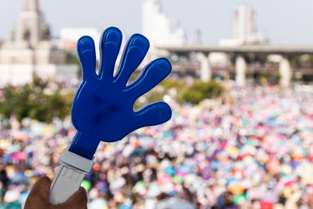 thai people: Blue hand of Thai people against government-3