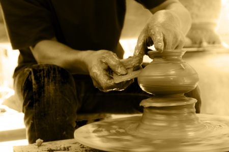Hands made Thai traditional clay pottery in Koh Kret island, Thailand Stock Photo