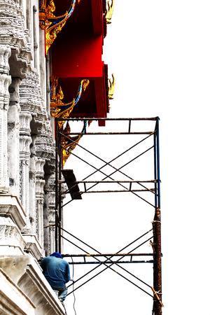 Construction worker working at the temple-3 photo