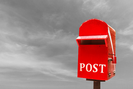 Red post box or mail box
