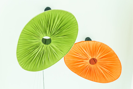 Green color lamp on the wall photo