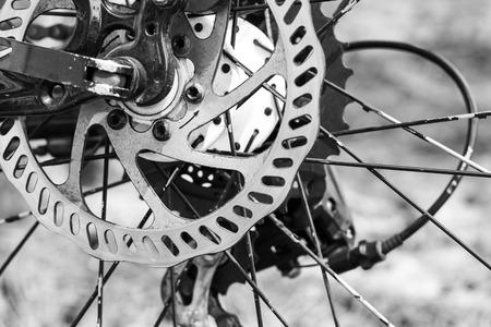 自転車の車輪のクローズ アップの詳細