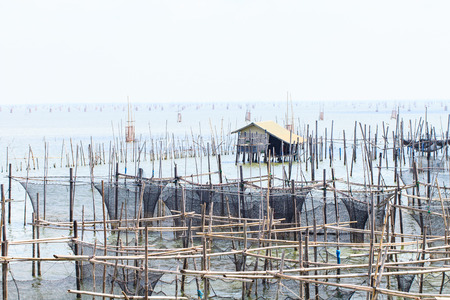Fish coop farm in Songkhla Lake, Thailand photo