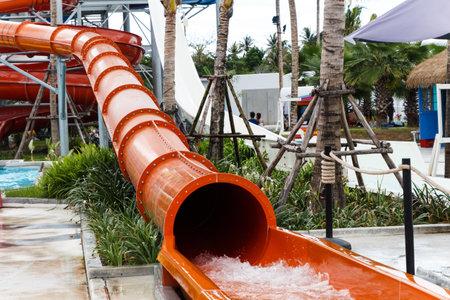 Water sliders in water park