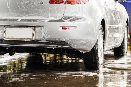 Car when washing in the carwash Stock Photo