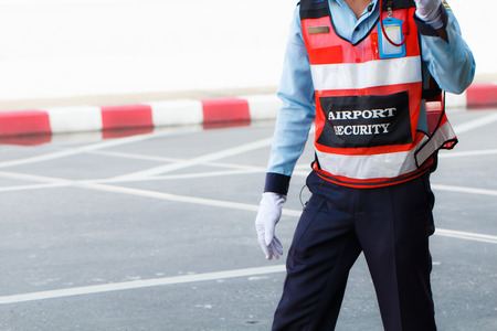 Airport security on the road Stock Photo