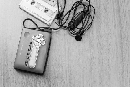 earpiece: Audio cassette with audio tape and earpiece