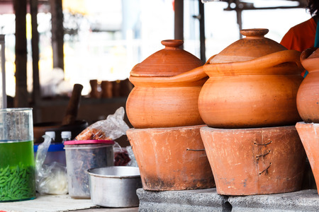 handcraft: Handcraft of clay pottery pot at market Stock Photo