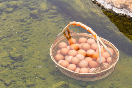 volatile: Top view of Boiled eggs in hot spring at Jaeson National Park in Lampang, Thailand