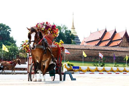 Horse carriage at Phrathat Lampang Luang temple in Lampang, Thailand-4 photo