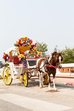 cartage: Horse carriage at Phrathat Lampang Luang temple in Lampang, Thailand-8