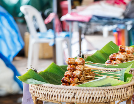 cooked sausage: Stack of cooked sausage at local market in Nonthaburi, Thailand-3 Stock Photo