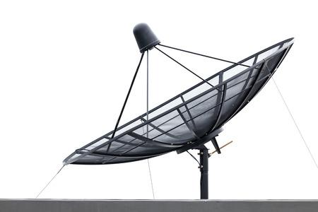 satellite: Black satellite dish on the roof isolated