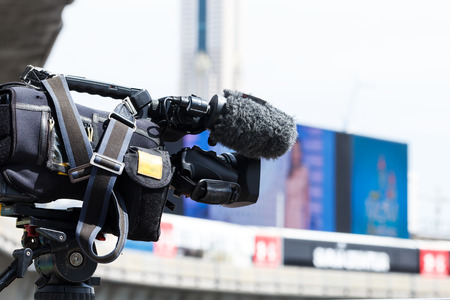 high definition: High Definition TV camera working outdoor Stock Photo