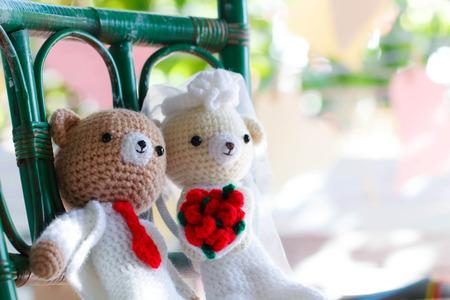 soul mate: Bridal pair of teddy bear wedding, selected focus-2