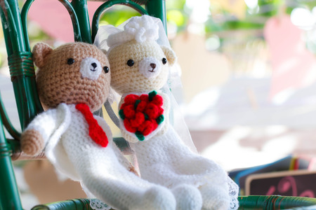 soul mate: Bridal pair of teddy bear wedding, selected focus